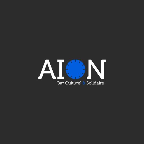 Création d'un logo pour le bar culturel et solidaire AION. Mehdi Mellouk, Réalisateur et Graphiste à La Rochelle.
